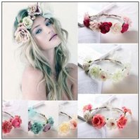 Wholesale 6 Colors New Bohemia Handmade Flower Crown Wedding Wreath Bridal Headdress Headband Hairband Hair Band Accessories CCA9757