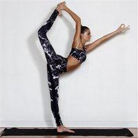 ingrosso black female yoga pants-Donna Fitness Legging Abbigliamento sportivo da donna Push-Up Leggins Canottiera Canotta e pantaloni Leggings da yoga Set da palestra nero