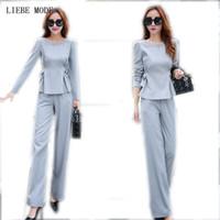 деловой костюм женщины розовый оптовых-( Jacket + Trousers ) 2 Piece Ladies Office Wear Suit Grey Pink Womens Business Sets With Pants Formal Pant Suits For Women