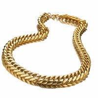 тяжелая цепь ожерелья для мужчин оптовых-Men Heavy Necklace Gold 19mm Wide Jewelry Gift Stainless Steel Curb Cuban Link Chain Necklace Customized 7-40