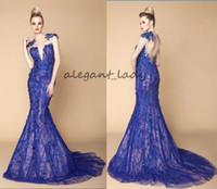 zuhair murad trompeta al por mayor-Azul real 2018 trompeta vestidos de noche Zuhair Murad sirena vestidos de fiesta de lujo con bordado de encaje 3D floral Sheer Backless Dubai