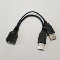 porta do cabo de alimentação venda por atacado-Atacado 100 pçs / lote Dual 2 Portas USB 2.0 de Dados + Power Um Macho para Fêmea Y Splitter Adaptador Cabo de Cabo de 15 cm para o Gabinete Portátil HDD SSD