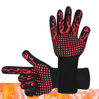 Wholesale heat collector resale online - BBQ Gloves Microwave Oven Gloves designs Heat Resistance Centigrade Fire prevention Aramid glove Silicone Baking Gloves