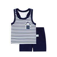 bebek donanma kıyafeti toptan satış-Bebek Kız Erkek Yaz Giysileri Set Kolsuz Erkek Bebek Yelek Setleri T gömlek Yenidoğan Giysileri Kıyafetler Yaz Suit Boy Donanma Giyim Için