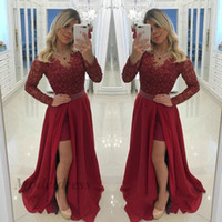 Wholesale sexy long dinner dresses for sale - Group buy Dark Red Long Sleeve Prom Dresses Lace Tops Appliques Beads Chiffon A Line Side Split Waist Pearls Floor Length Formal Evening Gowns Dinner