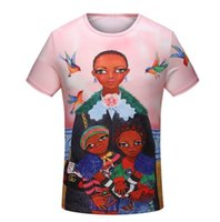 Wholesale couple animals painting online - 18ss Fashion brand Art Painting Union Cartoon Beauty Figure T Shirt Men s and women s couple short sleeved t shirts tee