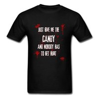 ingrosso dadi bianchi neri-Give Me The Candy T Shirt Halloween T Shirt da uomo Taglie forti Tshirt Lettera Nero Bianco Top in cotone Abbigliamento Horror che dice Tees