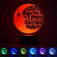 lámpara de la habitación de la luna al por mayor-Creative Nightlight 3D Te amo a la luna y la espalda Lámpara de mesa LED Decoración de la habitación de los niños 31rm C R