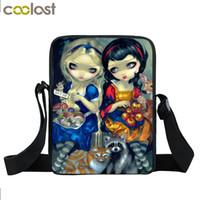 bolso gótico al por mayor-Cartoon Gothic Girl Mini Messenger Bag Mujer Bolsos Bolsas de Viaje Bolsas de Escuela de Niños Punk Ladies Crossbody Bag Mejor Regalo