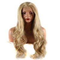 sarışın karışık dantel ön peruk toptan satış-Doğal Görünümlü Sentetik Dantel Ön Peruk Mix Sarışın Kahverengi Renk Vücut Dalga Isıya Dayanıklı Fiber Saç Peruk Beyaz Kadınlar Için Doğal Saç Çizgisi
