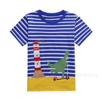 Wholesale Yellow Clothes For Baby Boy - Boy T-Shirt 2018 New Summer Baby Boys Animal Appliques Short Sleeves Children Clothing T-Shirt For Baby Boys
