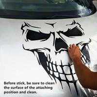 plastik iskelet kafatası toptan satış-Cadılar bayramı Araba Sticker Kafatası İskeleti Araba Hood Çıkartması Arka Vinil Yan Kapı Sticker Araba Pencere Için UPS DHL