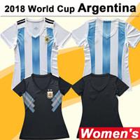arjantinli kadınlar toptan satış-2018 Dünya Kupası MESSI Kadınlar Futbol Forma Arjantin Milli Takım DI MARIA Deplasman Futbol Formalar DYBALA Aguero Lady Kısa Gömlek Üniforma