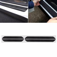 octavia kapısı toptan satış-4 Adet Siyah Karbon Fiber Araba Kapı Pedalı Plaka Eşiği Itişme Kapak Sticker Skoda Octavia A5 A7 Için Araç İç Pervaz C45