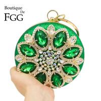 gold prom handtaschen großhandel-Boutique De FGG Runde Runde Green Diamond Damen Abendtaschen Metallarmband Clutch Handtasche Hochzeit Prom Crystal Handtasche