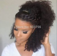 Wholesale drawstring ponytails for sale - Group buy Clip in natural brown hair c kinky curly drawstring ponytails hair extensions g inch human hair pony tail