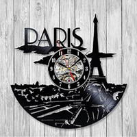 paris zimmer dekor großhandel-1 Stück Frankreich Paris Skyline Vinyl Musik Rekord Wanduhr Einzigartige Moderne Kunst Zimmer Hotel Decor 3D Hängen Uhren