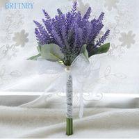gelin düğün buketi mor toptan satış-BRITNRY Gerçek Fotoğraflar Mor Düğün Buket El Yapımı Lavanta Çiçek Gelin Buketi Ucuz Nedime Buket