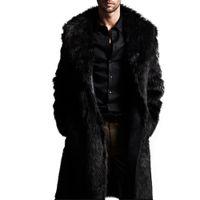 жакет для мальчиков кардиган оптовых-Мужские теплые плюс утолщение длинное пальто куртка из искусственного меха куртка верхняя одежда кардиган зима мальчик мужской моды джентльмен стиль искусственного меха пальто