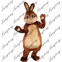 traje de coelho mascote adulto venda por atacado-2018 New alta qualidade Brown Rabbit Bunny trajes da mascote para adultos de natal de circo Halloween Outfit Fancy Dress Suit frete grátis
