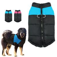 xxl köpek kürkü kış toptan satış-Büyük Büyük Köpek Kış Coat Ceket Köpekler Için köpek Giysileri yelek Pet Giyim Winterproof Xxl-7xl Pembe Mavi Renkler Roupa Cachorro