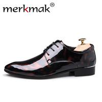 sapato masculino único venda por atacado-Merkmak new pu sapatos de couro para homens formais sapatos de negócios tamanho grande 38 ~ 50 cor única dos homens Flats Mans Casual calçado