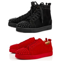 ingrosso scarpe di fondo in pelle-Disegni Scarpe Spike junior vitello Low Cut Mix 20 Red Bottom Sneaker Scarpe da sposa per party di lusso in vera pelle Spikes Lace-up Scarpe casual