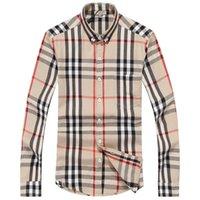 ingrosso camicie di tweed-Camicia di plaid di auto-coltivazione di marca di affari americana, camicia di co-vestito a strisce camicia di cotone a maniche lunghe di marca di stilista di moda