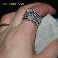 Wholesale square cut engagement rings resale online - Shining zircon square cut crystal wedding ring set for women men champagne fashion stackable slive gold engagement jewelry accessories