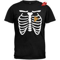 homens do traje do coração venda por atacado-2018 New Arrivals Pizza Heart Skeleton Costume T-Shirt Impresso t shirt Dos Homens t shirt Tops Casuais