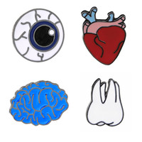 Wholesale Funny Cartoon Bags - Cartoon Cute The Human Organ Brain Eye Tooth Heart Metal Brooch Pins Button Badge Funny Enamel Lapel for Women Bags Jewelry