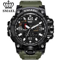 ingrosso orologi al quarzo digitale-Orologi sportivi da uomo di marca SMAEL Dual Display Orologio da polso al quarzo elettronico digitale analogico a LED con orologio da polso impermeabile da nuoto
