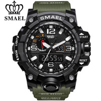 yeni havacı saatleri toptan satış-SMAEL Marka Erkek Spor Saatler Çift Ekran Analog Dijital LED Elektronik Kuvars saatı Su geçirmez Yüzme Askeri Bilek İzle