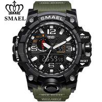 markalı ekranlar toptan satış-SMAEL Marka Erkekler Spor Saatleri Çift Ekran Analog Dijital LED Elektronik Kuvars Saatı Su Geçirmez Yüzme Askeri Bilek İzle