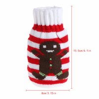 Wholesale gingerbread man wholesale - 1Pc Christmas Tree Gingerbread Man Knitted Glove Pattern Christmas Wine Bottle Cover Bags Party Decor New W215