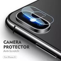 temperli gözlük koruyucuları toptan satış-Yumuşak Temperli Gözlük 2.5D Geri Kamera Lens Anti Scratch Fiber Ekran Koruyucu Film için iPhone XS MAX XR X 8 Paketi ile