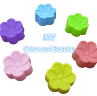 silika jel keki kalıbı toptan satış-Begonya çiçek silikon muffin kupası 5 cm silika jel kek kalıbı silikon tutkal Ma Fen fincan pişirme aracı kek kalıbı T4H0259