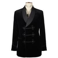 damat takım elbise tasarımları toptan satış-Son Pantolon Ceket Tasarımları Sigara Kadife Damat Smokin Ceket Siyah Erkekler Düğün Resmi Groomsmen Mens Blazer Akşam Parti Suits