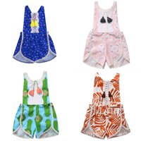Wholesale class printing for sale - Baby Girls Rompers Tassels Fringe Sleeveless Floral Print Balls Edge Backless Summer Vest Jumpsuit A class Breathable Cotton T