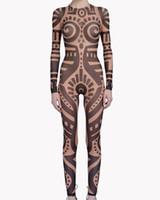 combinaison de combinaison de corps achat en gros de-Été Femmes VintageTribal Tattoo Print Mesh Combinaison Curvy African Runway Sheer Bodysuit Celebrity Combinaison Catsuit
