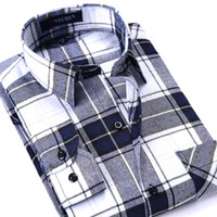 бренды одежда фарфор оптовых-New Arrival Autumn&Winter Men's Casual Slim Shirts Flannel Plaid Shirt China  High Quality Men's Boutique Clothes