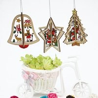 Wholesale diy wall clock metal - 2Pcs Set Hot DIY 3D Xmas Tree Wall Clock Star Pendants Hanging Wooden Christmas Decorations Home Party Decor
