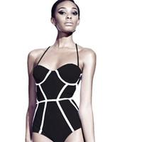 neue damen bikini anzüge großhandel-Neue Muster Sexy Bikini Frauen Badeanzug Retro Mode Bademode Dame Splicing Sammeln Zusammen Ein Stück Anzug Schwimmen Tragen 21sr W