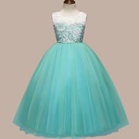 половина рукава совок шеи сверху оптовых-Европейская и американская детская юбка кружева принцессы девушки платье вечеринка на день рождения производительность юбка платье