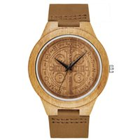 Wood Watch Unique Mysterious Pattern Dial Quartz Clock Leather Band Casual Wooden Wrist For Men Women Fahshion Gift 2018