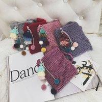 koreanische kinder mädchen wolle groihandel-Mädchen Geldbörsen Handtaschen 2018 Korean Fashion Kids Mädchen Schultertaschen Bear Quaste Woolen Garn Süßigkeiten Taschen Kinder Mini Tasche Geschenk Wallet