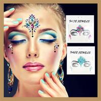 akrilik elmas çıkartması toptan satış-DIY Güzellik Akrilik Elmas Dekorasyon Masquerade Makyaj Çıkartmalar Bling Moda Kristal Yüz Dövme Etiket Sıcak Satış 4 5yy Z