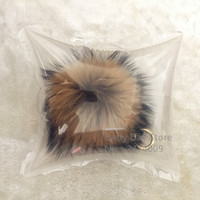 меховые шары оптовых- 15cm Fluffy Raccoon Fur Ball Keychain Real Fur Key Chains Pompom Keychain Pompon Keyring Charm Women Bag Pendant