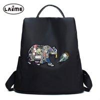 mochilas menina única venda por atacado-Teste padrão do elefante do diamante de cristal Mochila das mulheres Mochila de nylon impermeável de alta qualidade