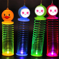 Wholesale luminous rod for sale - Group buy Lantern rainbow circle cartoon toys design Flash plastic spring coil With the rod and rope luminous lighting Q0772